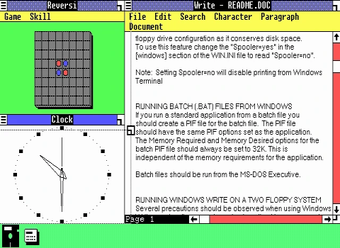 A screenshot of Windows 1.01, adjusted for EGA's display aspect ratio.