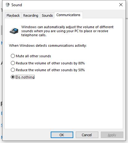 Windows Sound control panel